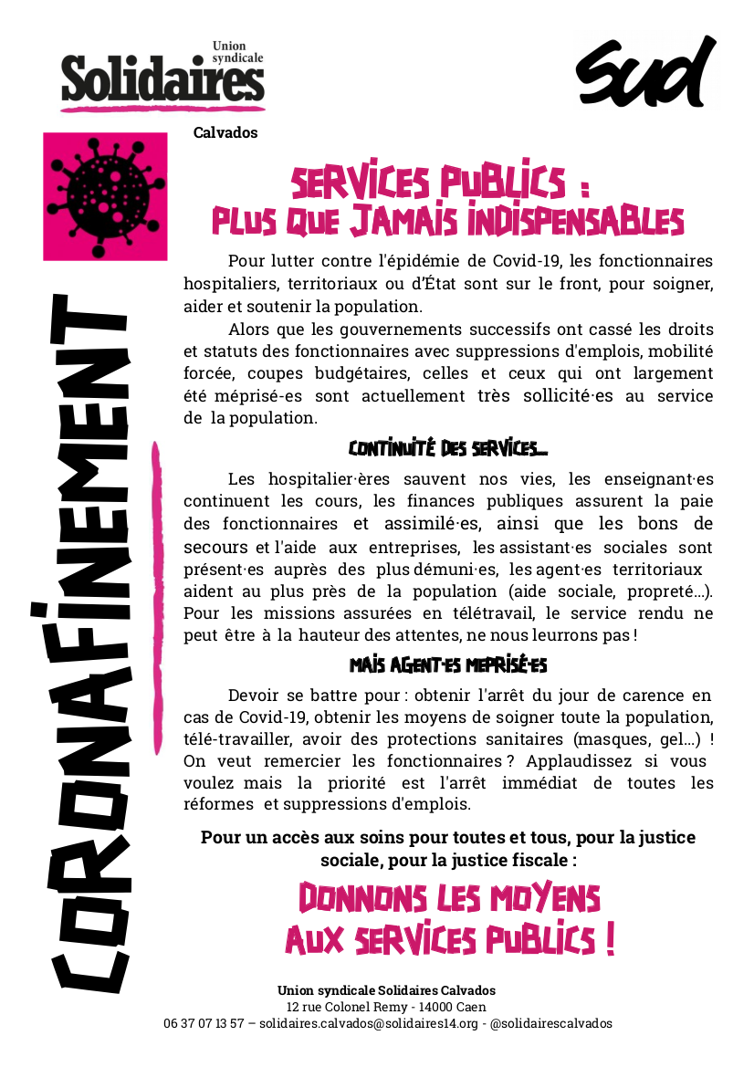 tract corona fonctionnaires - mars 2020