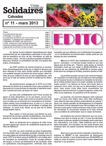 journal Solidaires Calvados n°11 - mars 2013
