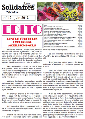 journal Solidaires Calvados n°12 - 21 juin 2013