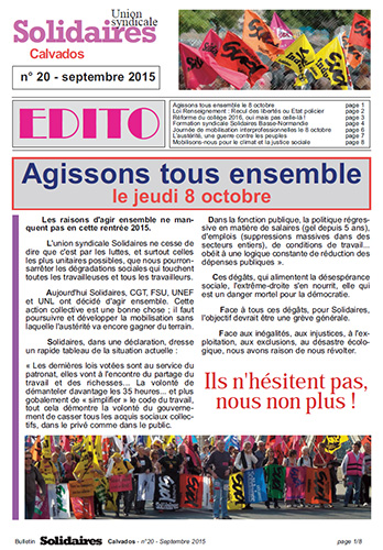 journal Solidaires Calvados - septembre 2015