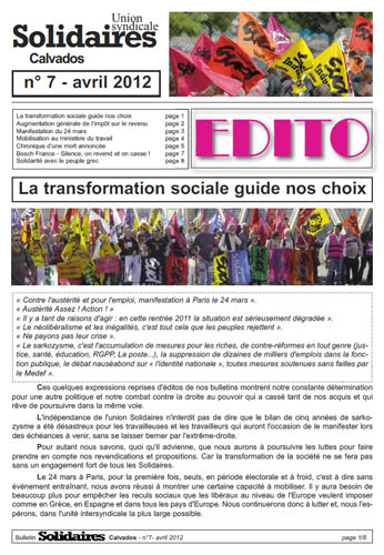 journal Solidaires Calvados n°7 - Avril 2012