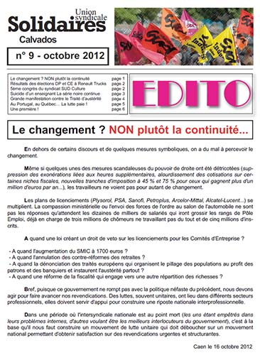 journal Solidaires Calvados n°9 - Octobre 2012