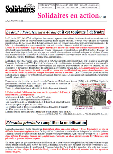 Journal de l'Union Syndicale Solidaires